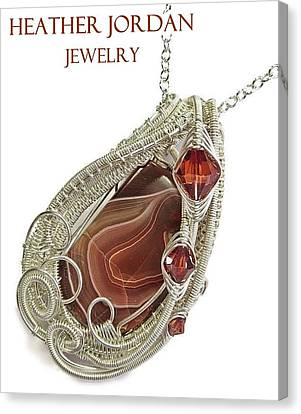 Lake Superior Agate Pendant In Sterling Silver With Swarovski Crystal Lsapss5 Canvas Print by Heather Jordan