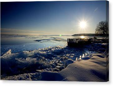 Lake Superior In Winter Canvas Print by Mark Duffy
