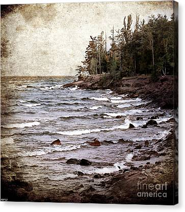 Canvas Print featuring the photograph Lake Superior Waves by Phil Perkins