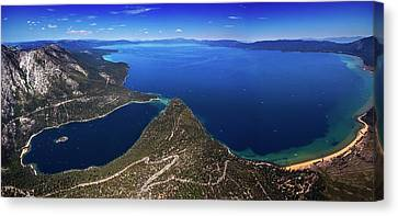 Canvas Print featuring the photograph Lake Tahoe Aerial Panorama - Emerald Bay Aerial by Brad Scott