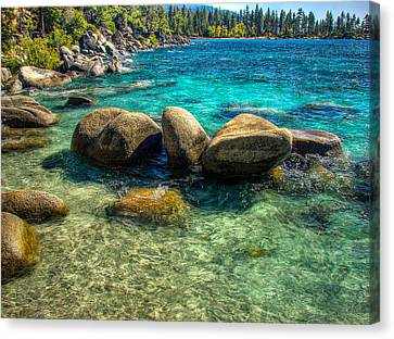 Lake Tahoe Beach And Granite Boulders Canvas Print by Scott McGuire