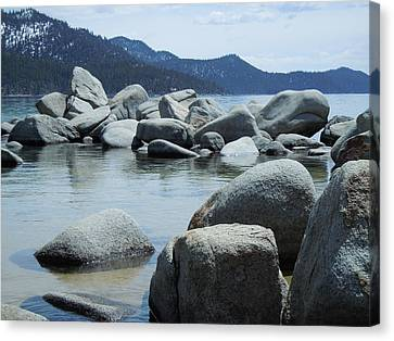 Canvas Print featuring the photograph Lake Tahoe Rocks by Dan Whittemore