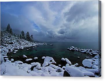 Lake Tahoe Snow Day Canvas Print by Sean Sarsfield