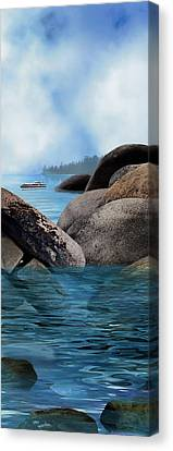 Lake Tahoe With Wooden Boat Canvas Print by Julie Rodriguez Jones