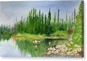 Canvas Print featuring the painting Lake View 1-2 by Yoshiko Mishina
