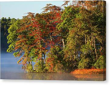 Canvas Print featuring the photograph Lake Waban Fall Foliage by Juergen Roth