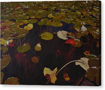 Canvas Print featuring the painting Lake Washington Lilypad 7 by Thu Nguyen