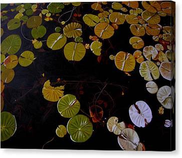 Canvas Print featuring the painting Lake Washington Lilypad 8 by Thu Nguyen