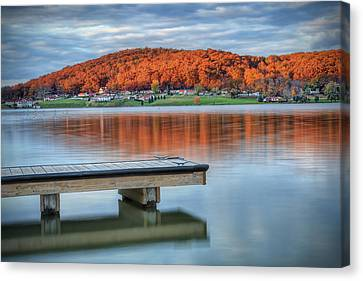 Canvas Print featuring the photograph Autumn Red At Lake White by Jaki Miller