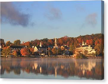 Lake Winnipesaukee Meredith Autumn Morning Canvas Print by John Burk