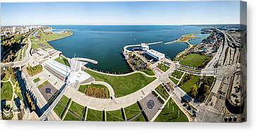 Canvas Print featuring the photograph Lakefront Panorama by Randy Scherkenbach