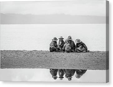 Canvas Print featuring the photograph Lakeshore Discussion, Namtso, 2007 by Hitendra SINKAR