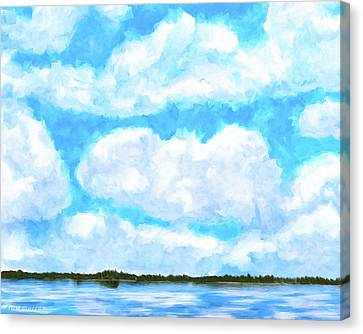 Canvas Print featuring the mixed media Lakeside Blue - Georgia Abstract Landscape by Mark Tisdale
