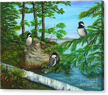Lakeside Chickadees Canvas Print by Judy Filarecki