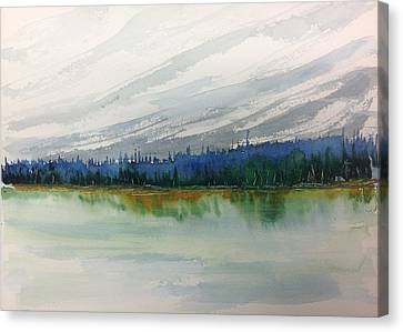 Lakeside - Mountain Foothill  - Banff Canvas Print