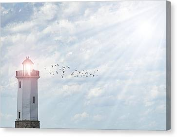 Canvas Print featuring the photograph Lakeside Park Lighthouse by Joel Witmeyer
