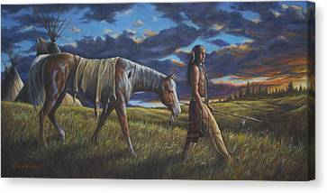 Canvas Print featuring the painting Lakota Sunrise by Kim Lockman
