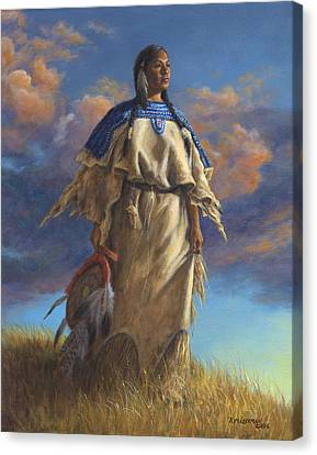 Canvas Print featuring the painting Lakota Woman by Kim Lockman