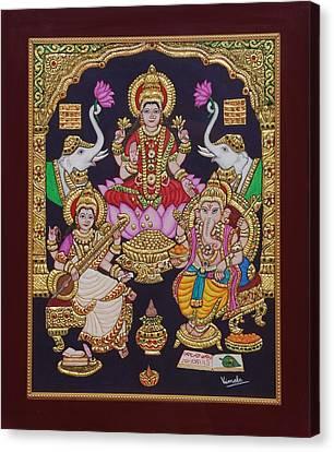 Lakshmi Ganesh Saraswati Canvas Print by Vimala Jajoo