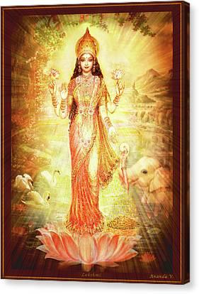 Lakshmi Goddess Of Fortune Canvas Print by Ananda Vdovic