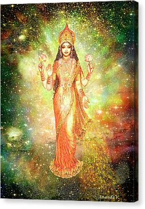 Lakshmi In A Galaxy  Canvas Print by Ananda Vdovic