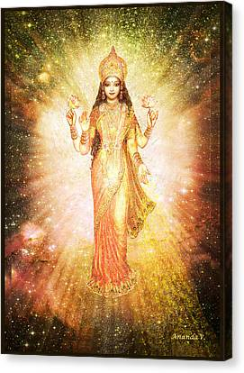 Lakshmi In A Galaxy, Radiating Pink Light Canvas Print by Ananda Vdovic