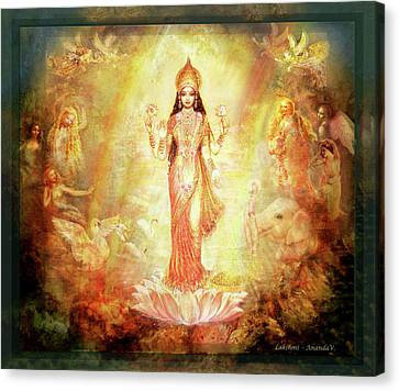 Lakshmi With Angels And Muses 1 Canvas Print by Ananda Vdovic