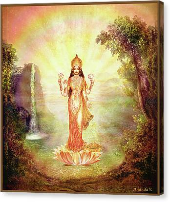 Lakshmi With The Waterfall Canvas Print