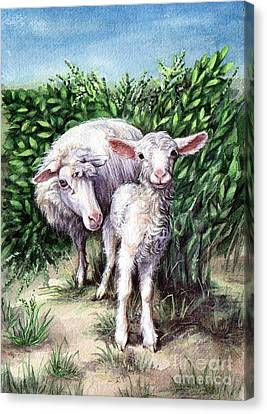 Lamb With His Mother Canvas Print by Larissa Prince