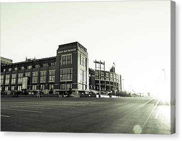 Canvas Print featuring the photograph Lambeau Field Minimalistic by Joel Witmeyer
