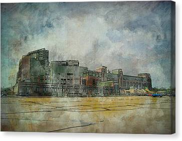 Canvas Print featuring the photograph Lambeau Field Watercolor by Joel Witmeyer