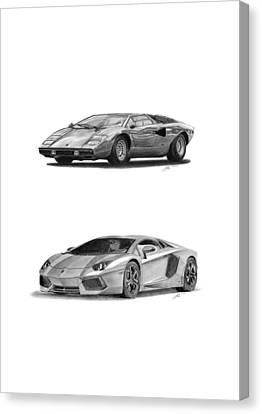 Lamborghini Lp V12 Duo Canvas Print by Gabor Vida