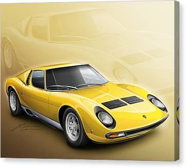 1969 Canvas Print - Lamborghini Miura Sv 1966-1973 by Etienne Carignan