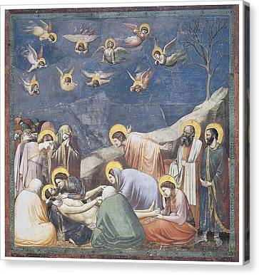 Lamentation Canvas Print by Giotto Di Bondone