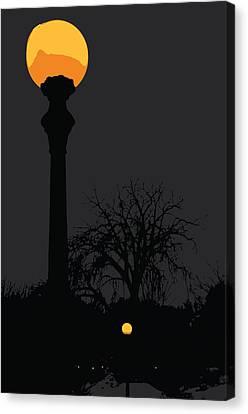 Lamp At Night Canvas Print by Pelo Blanco Photo