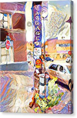 Lamp Post - Bisbee Canvas Print by Candee Lucas