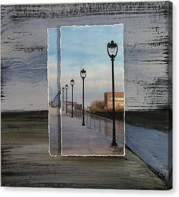 Lamp Post Row Layered Canvas Print by Anita Burgermeister