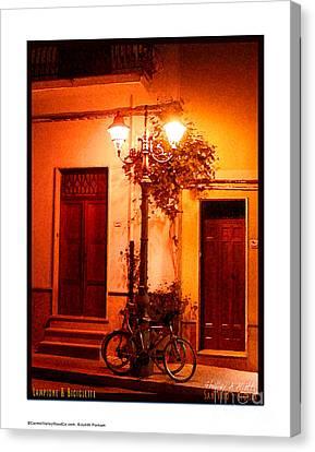 Lampione And Biciclette Canvas Print