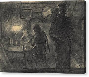 Lamplight In The Cabin Canvas Print by Willoughby Senior