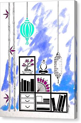 Lamps, Books, Bamboo -- Blue Canvas Print by Jayne Somogy