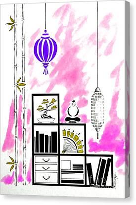 Lamps, Books, Bamboo -- Fuchsia Canvas Print by Jayne Somogy