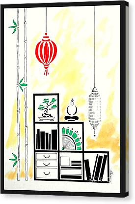 Lamps, Books, Bamboo -- The Original -- Asian-style Interior Scene Canvas Print by Jayne Somogy
