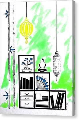Lamps, Books, Bamboo -- Lime Green Canvas Print by Jayne Somogy