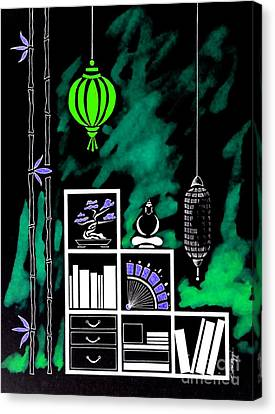 Lamps, Books, Bamboo -- Negative 2 Canvas Print by Jayne Somogy
