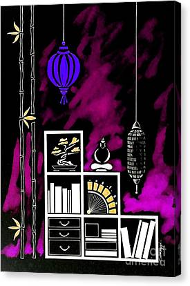 Lamps, Books, Bamboo -- Negative 3 Canvas Print by Jayne Somogy