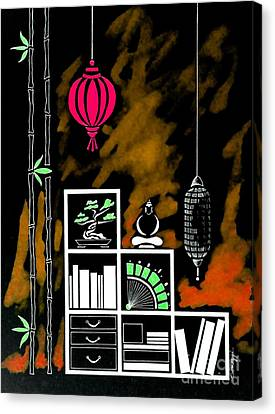 Lamps, Books, Bamboo -- Negative 4 Canvas Print by Jayne Somogy