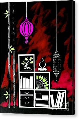Lamps, Books, Bamboo -- Negative 5 Canvas Print by Jayne Somogy