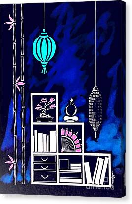 Lamps, Books, Bamboo -- Negative Canvas Print