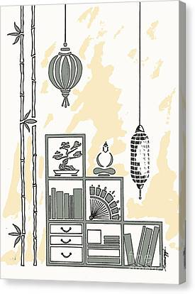 Lamps, Books, Bamboo -- Neutrals Canvas Print by Jayne Somogy
