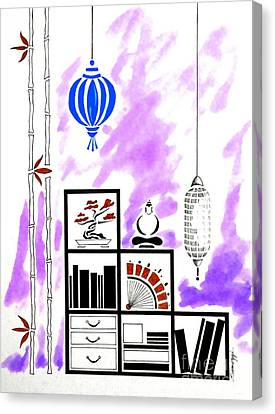 Lamps, Books, Bamboo -- Purple Canvas Print by Jayne Somogy